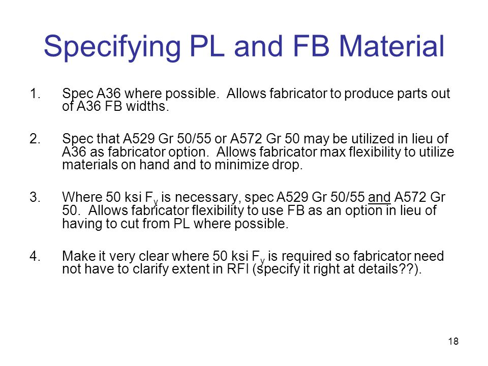 Specifying PL and FB Material