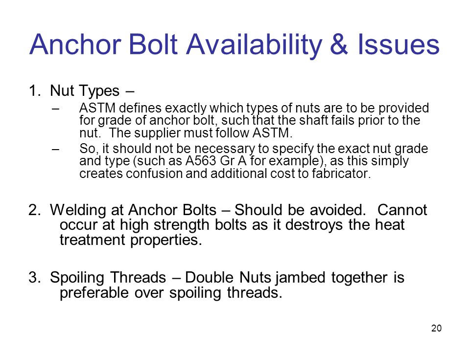 Anchor Bolt Availability & Issues