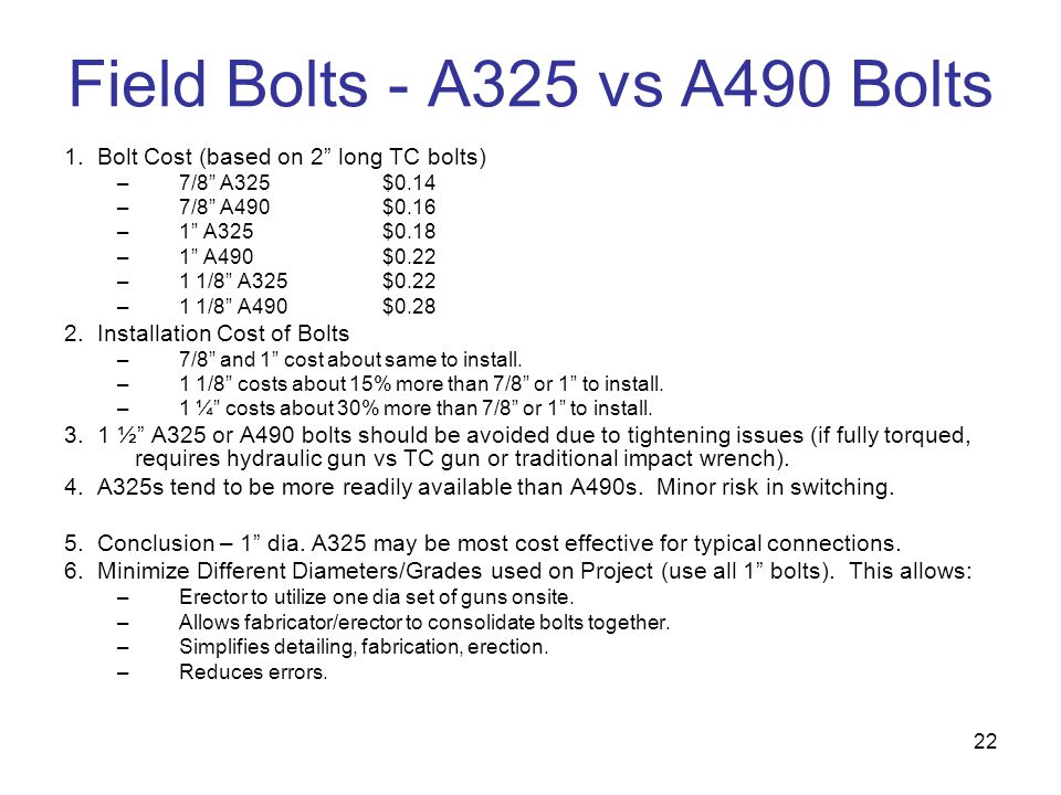 Field Bolts - A325 vs A490 Bolts