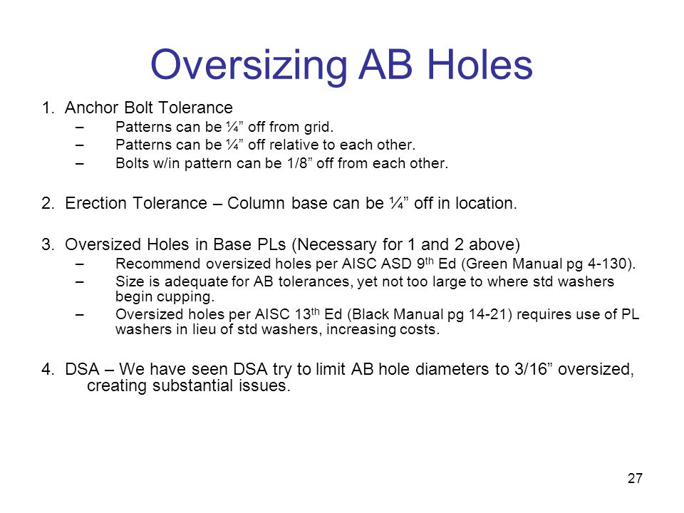 Oversizing AB Holes 1. Anchor Bolt Tolerance