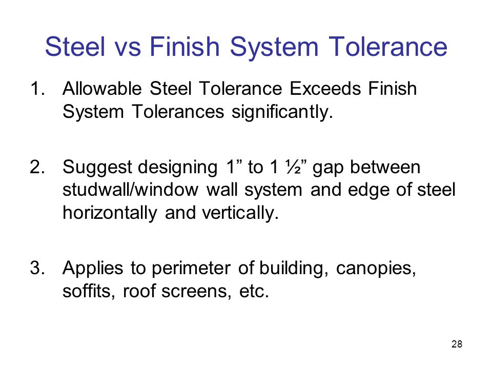 Steel vs Finish System Tolerance