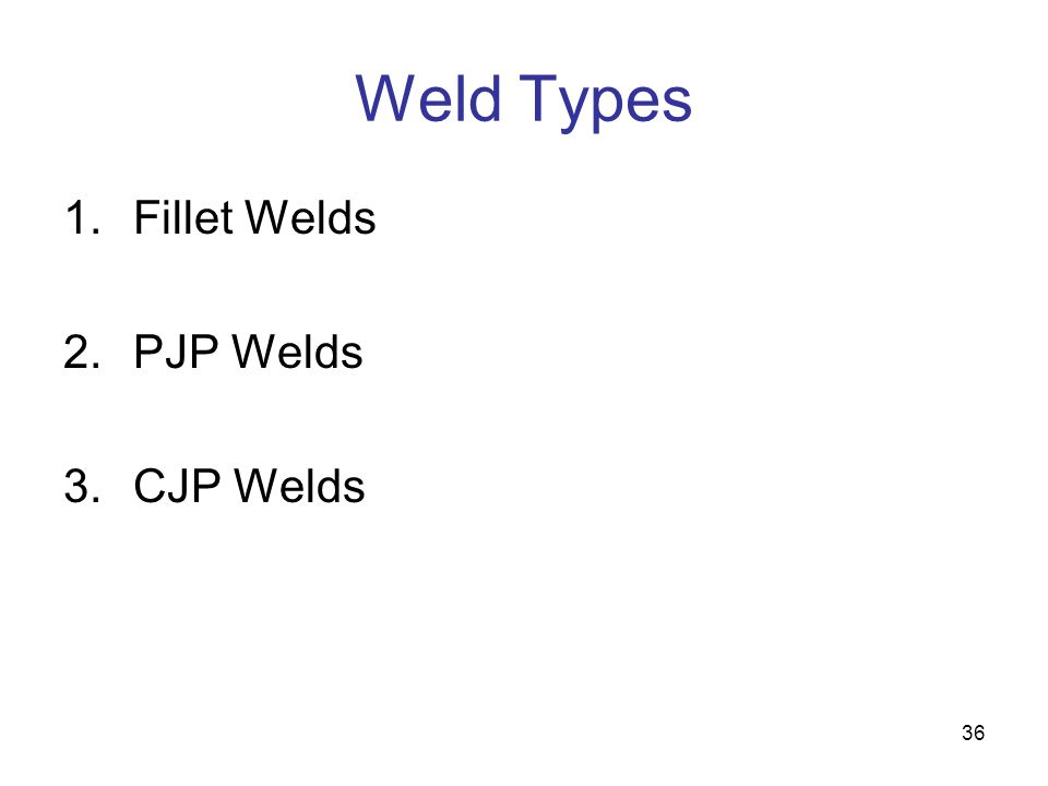 Weld Types Fillet Welds PJP Welds CJP Welds
