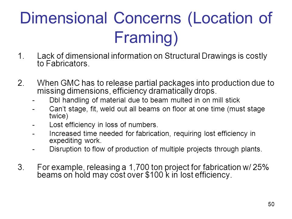 Dimensional Concerns (Location of Framing)