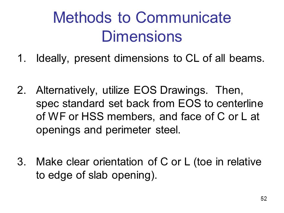 Methods to Communicate Dimensions