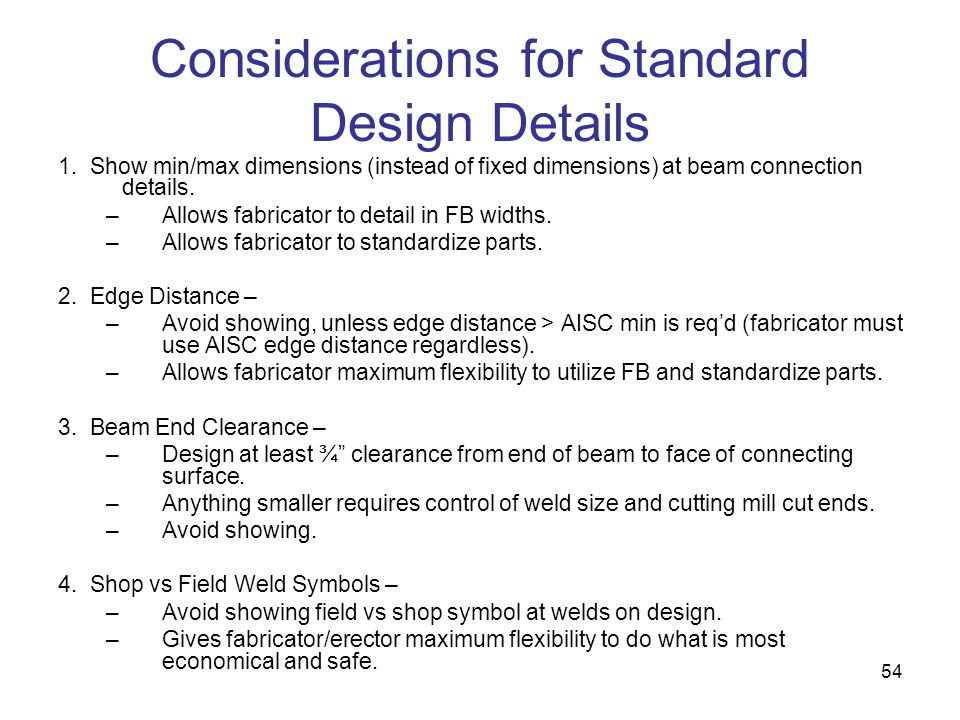 Considerations for Standard Design Details