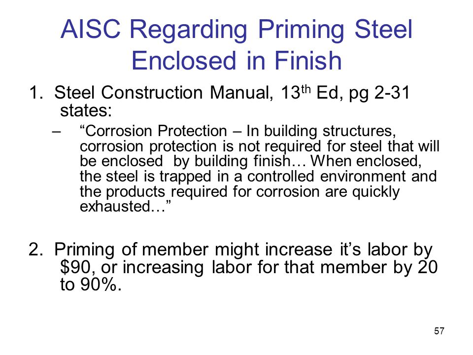 AISC Regarding Priming Steel Enclosed in Finish