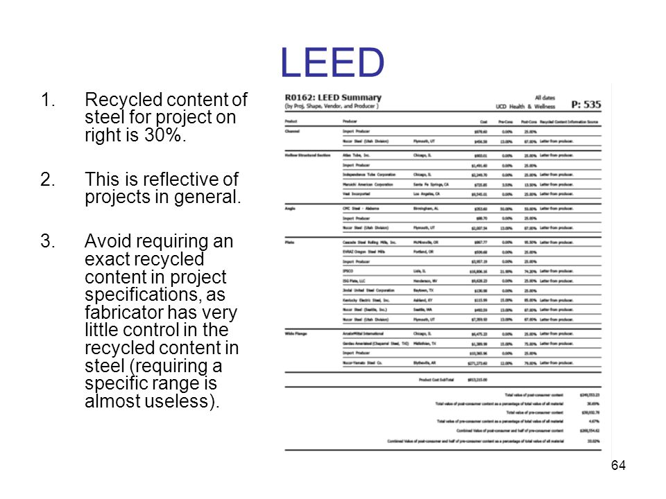LEED Recycled content of steel for project on right is 30%.