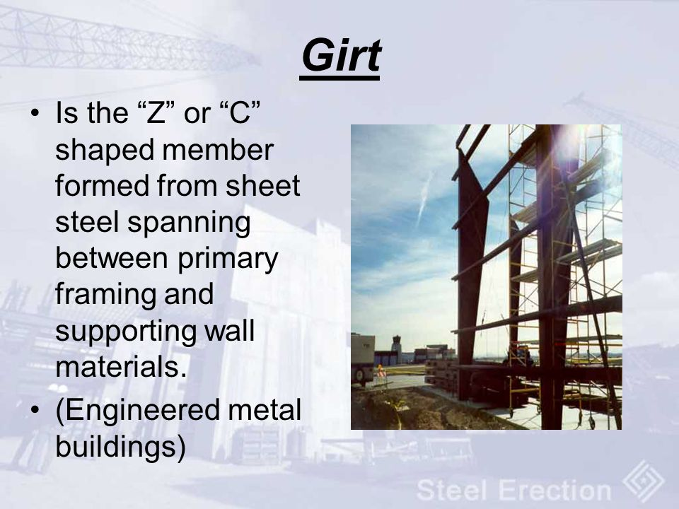 Girt Is the Z or C shaped member formed from sheet steel spanning between primary framing and supporting wall materials.