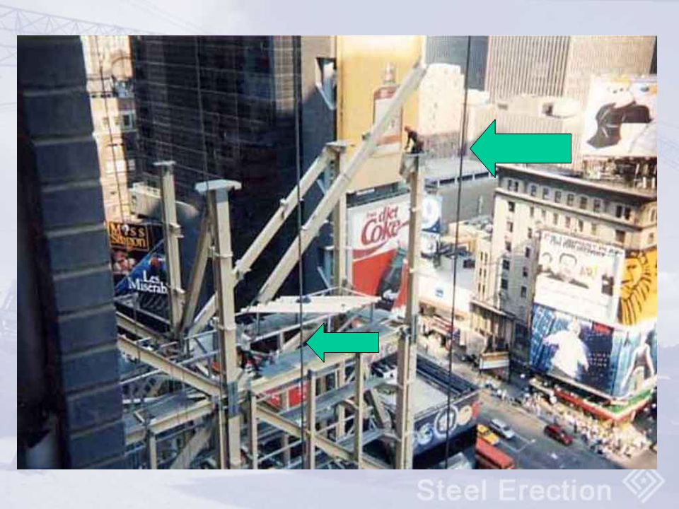 Times Square, NYC Ironworker upper right is connecting a diagonal beam – no fall protection to the exterior!
