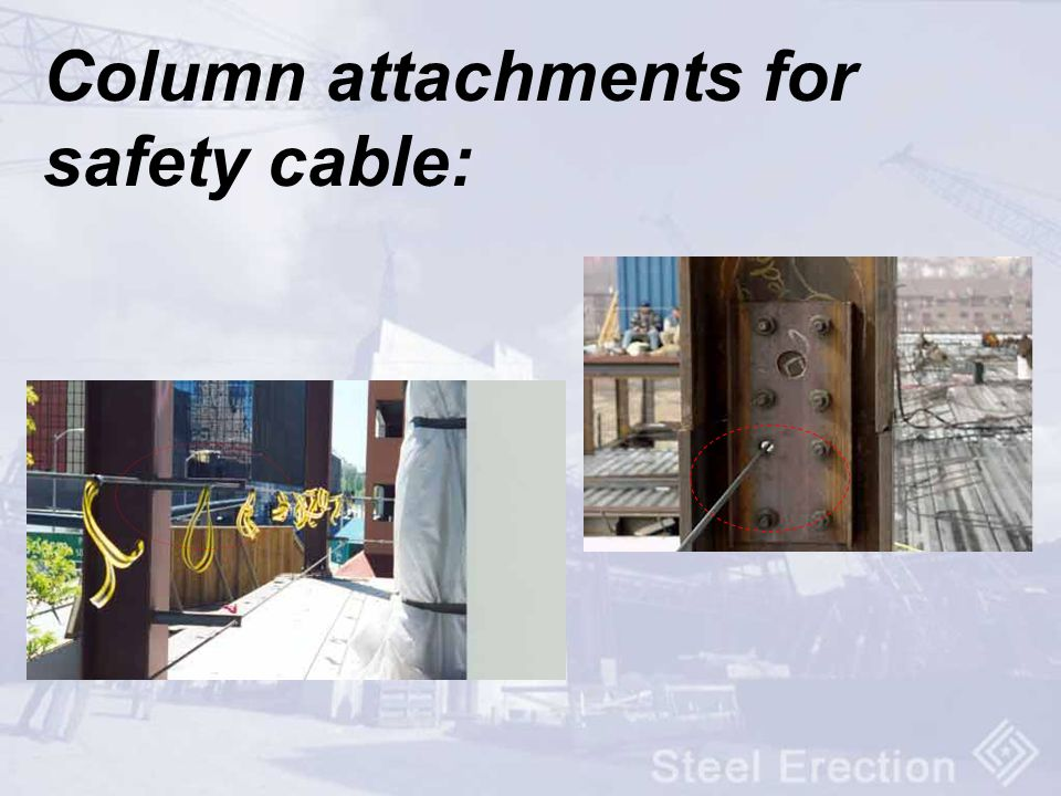 Column attachments for safety cable: