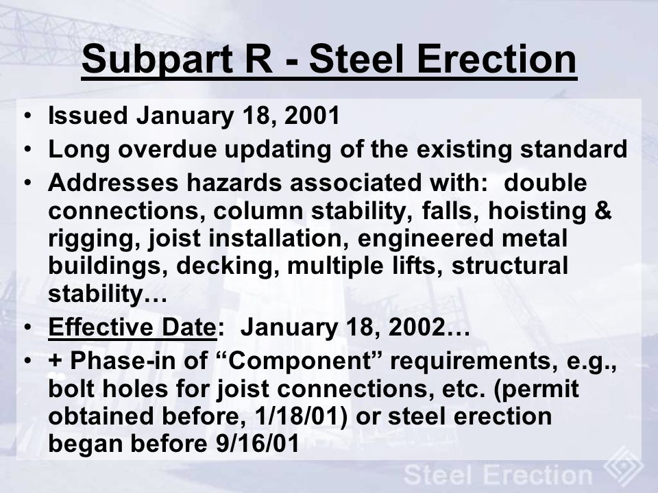 Subpart R - Steel Erection