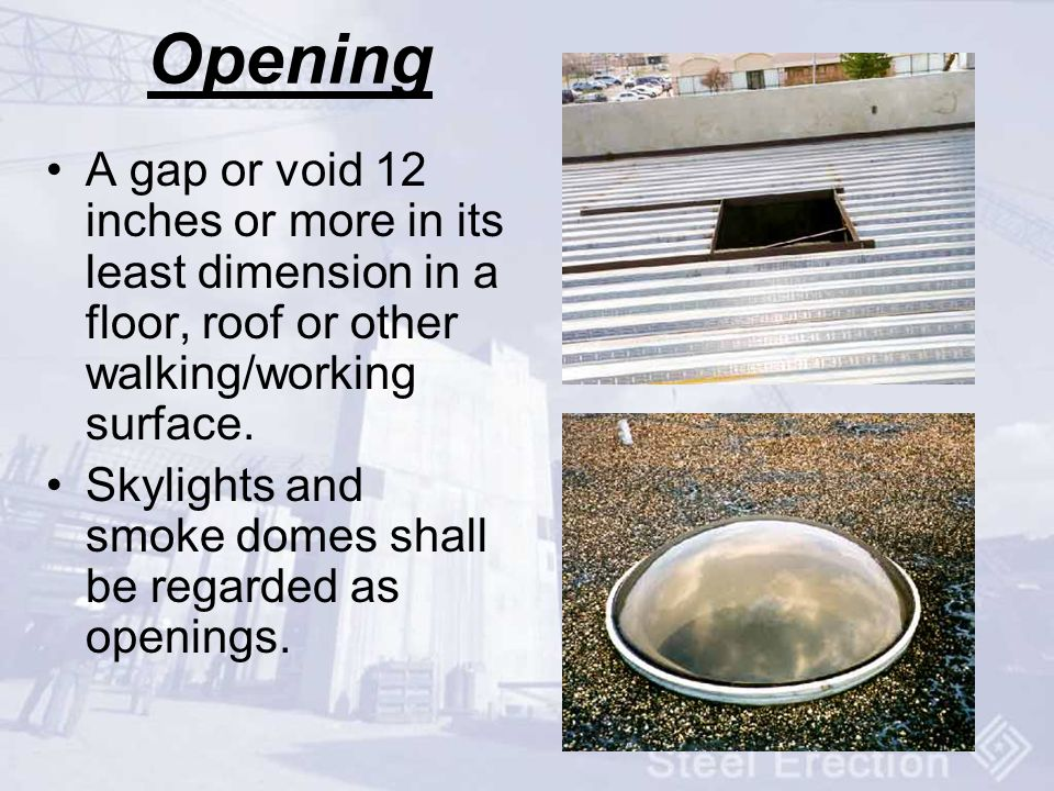 Opening A gap or void 12 inches or more in its least dimension in a floor, roof or other walking/working surface.