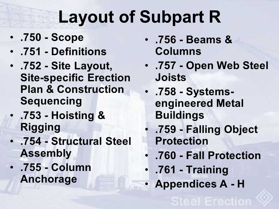 Layout of Subpart R Scope Beams & Columns