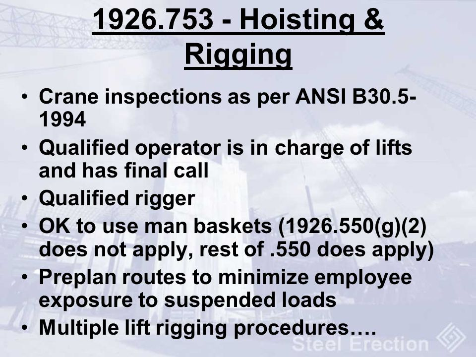 Hoisting & Rigging Crane inspections as per ANSI B