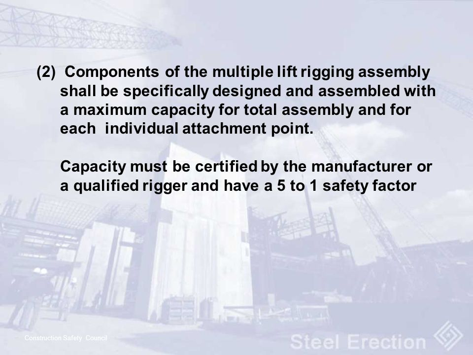 (2) Components of the multiple lift rigging assembly shall be specifically designed and assembled with a maximum capacity for total assembly and for each individual attachment point.