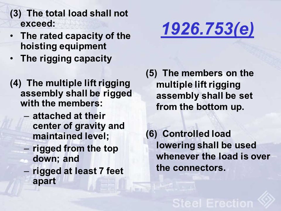 (e) (3) The total load shall not exceed: