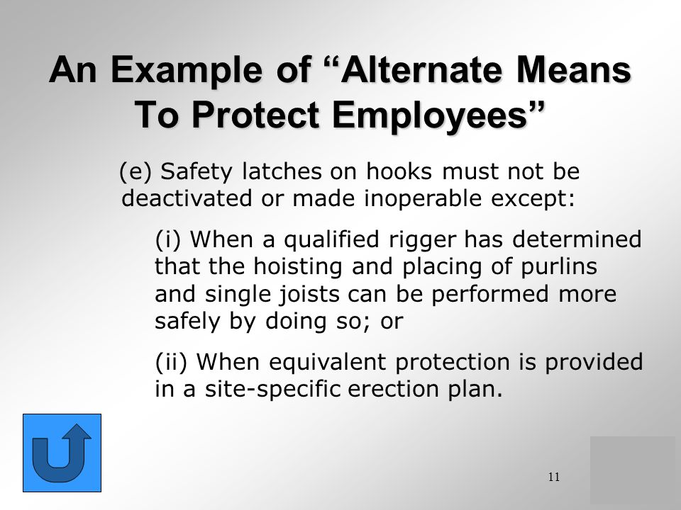 An Example of Alternate Means To Protect Employees