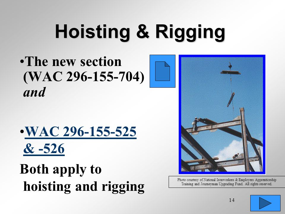 Hoisting & Rigging The new section (WAC 296-155-704) and