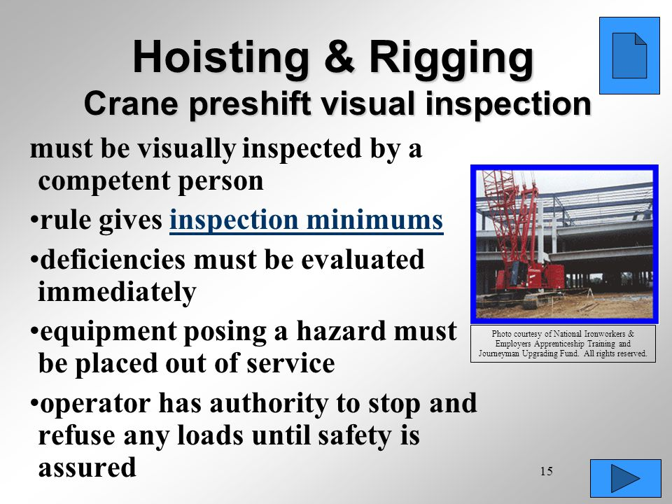 Hoisting & Rigging Crane preshift visual inspection