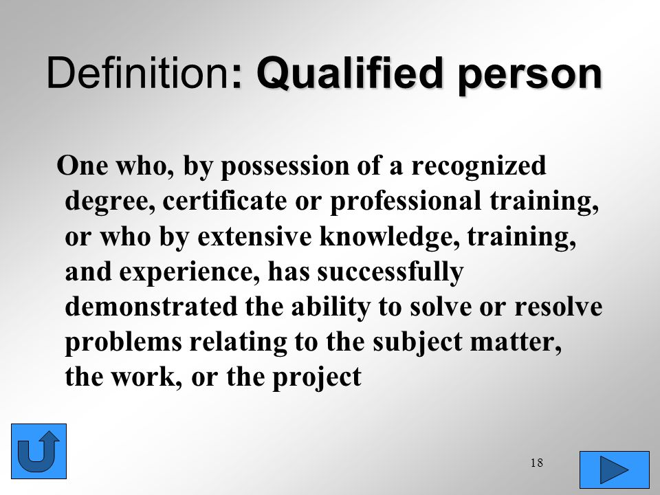 Definition: Qualified person
