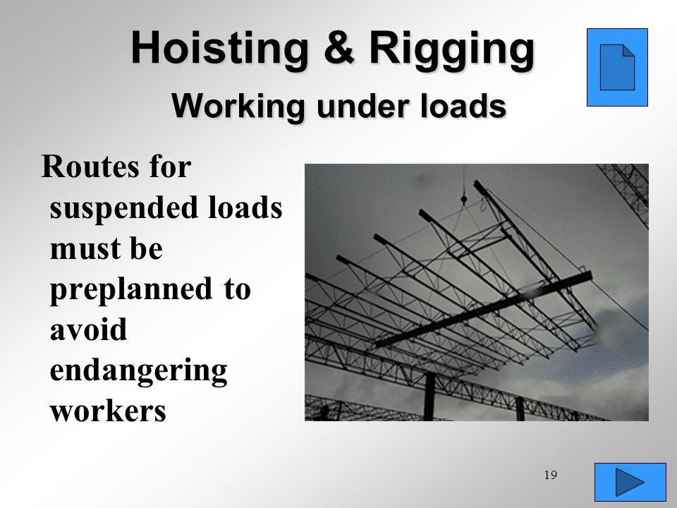 Hoisting & Rigging Working under loads