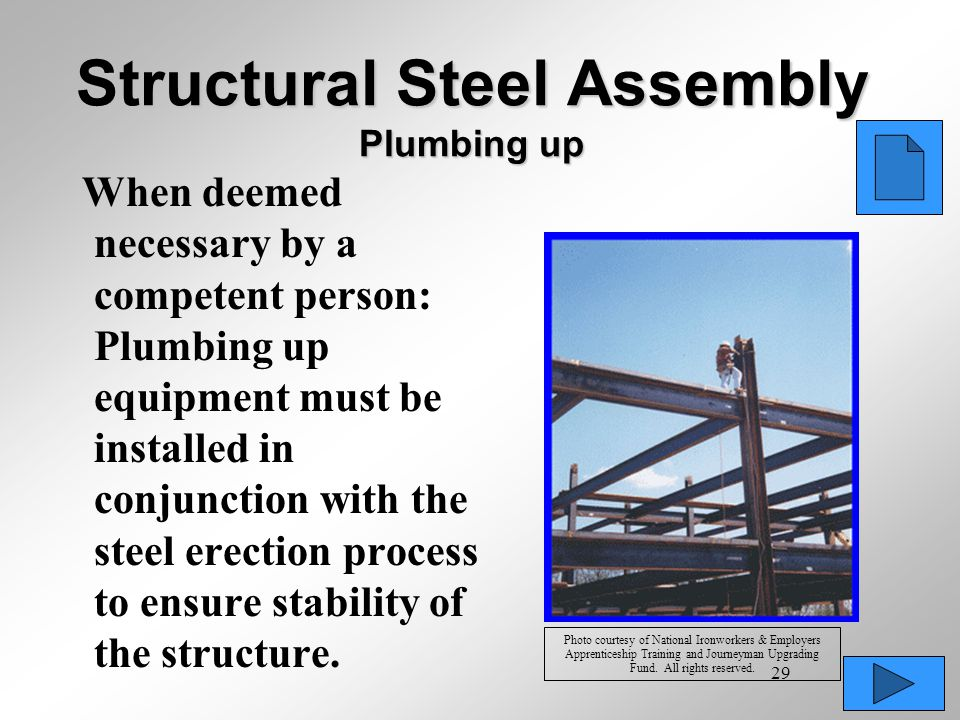 Structural Steel Assembly Plumbing up