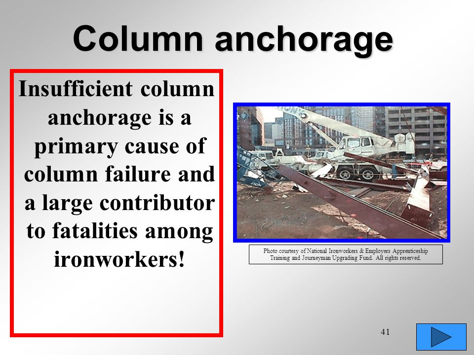 Column anchorage Insufficient column anchorage is a primary cause of column failure and a large contributor to fatalities among ironworkers!