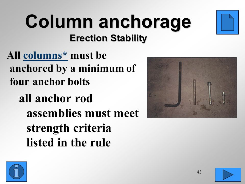 Column anchorage Erection Stability