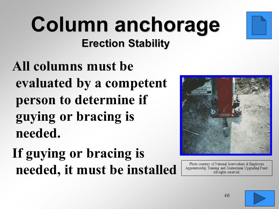 Column anchorage Erection Stability