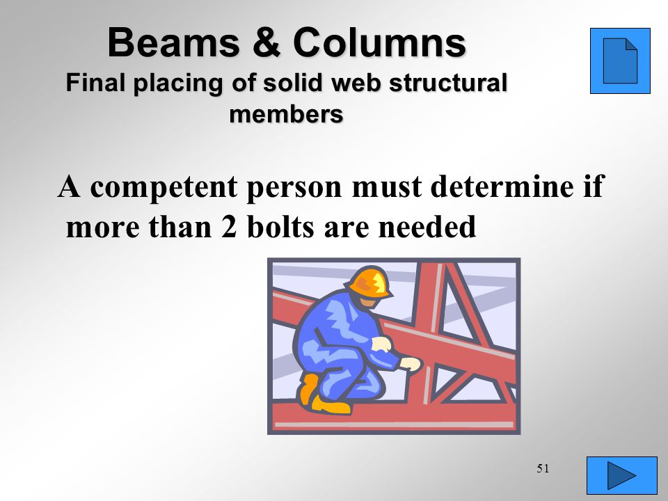 Beams & Columns Final placing of solid web structural members