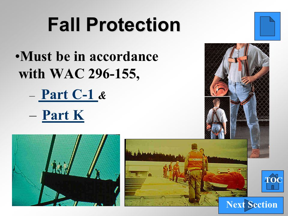 Fall Protection Must be in accordance with WAC 296-155, Part K
