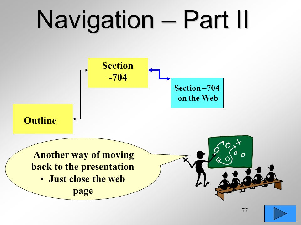 Another way of moving back to the presentation