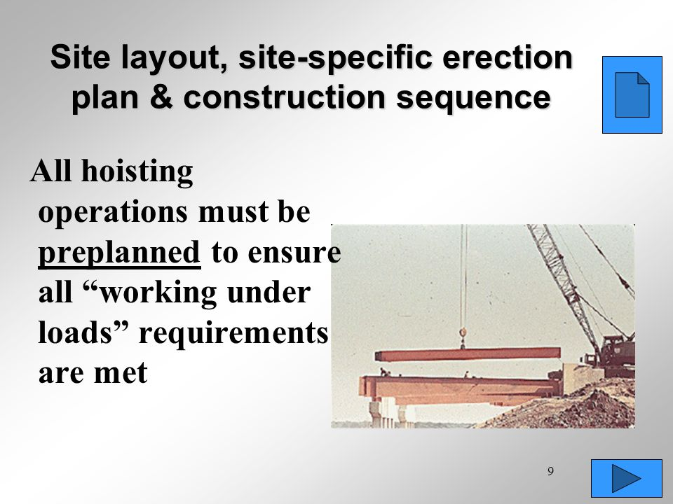 Site layout, site-specific erection plan & construction sequence
