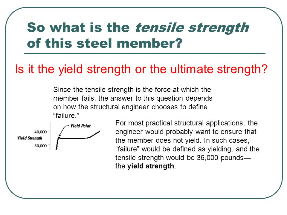 So what is the tensile strength of this steel member