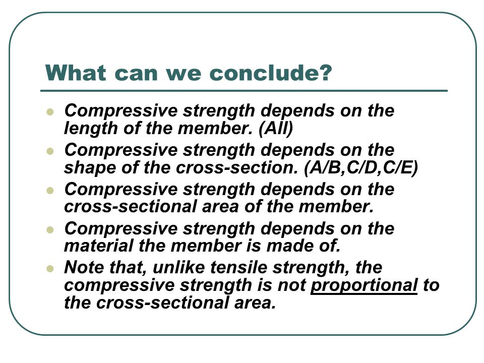 What can we conclude Compressive strength depends on the length of the member. (All)