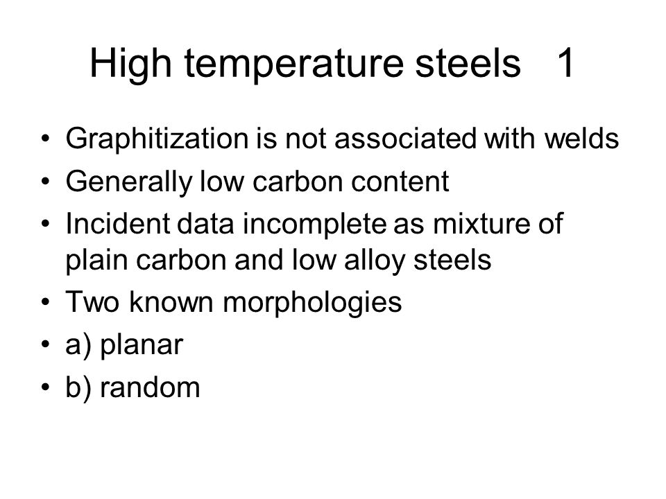 High temperature steels 1