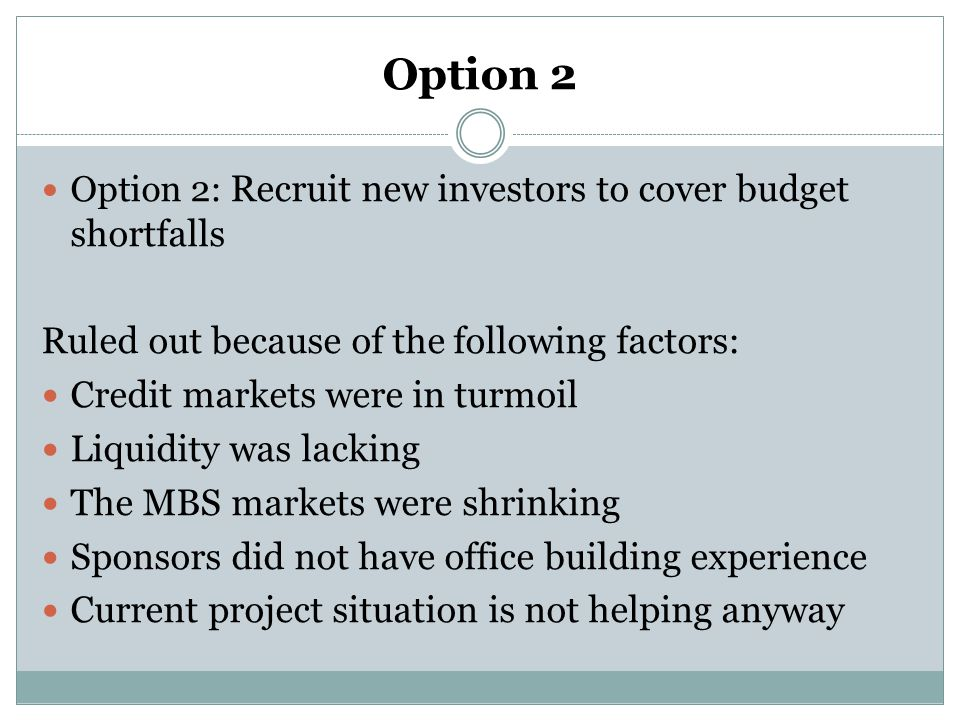 Option 2 Ruled out because of the following factors: