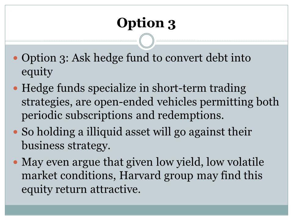 Option 3 Option 3: Ask hedge fund to convert debt into equity