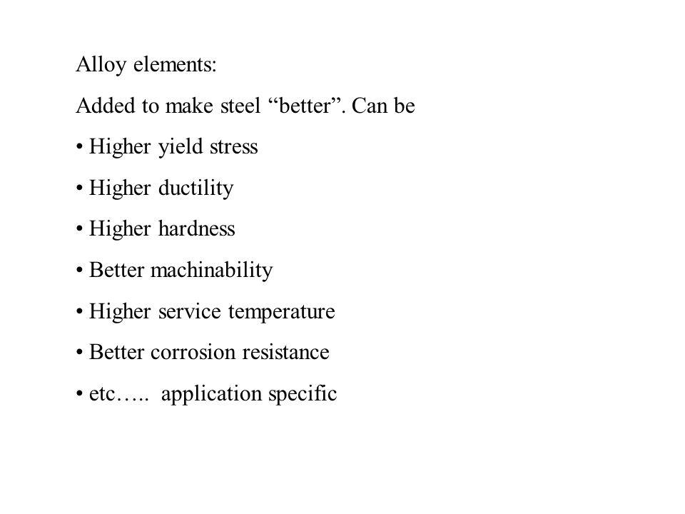 Alloy elements: Added to make steel better . Can be. Higher yield stress. Higher ductility. Higher hardness.