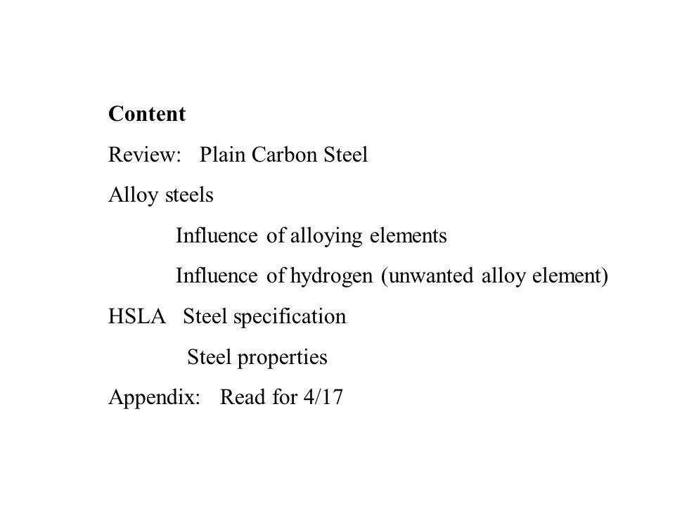 Content Review: Plain Carbon Steel. Alloy steels. Influence of alloying elements. Influence of hydrogen (unwanted alloy element)