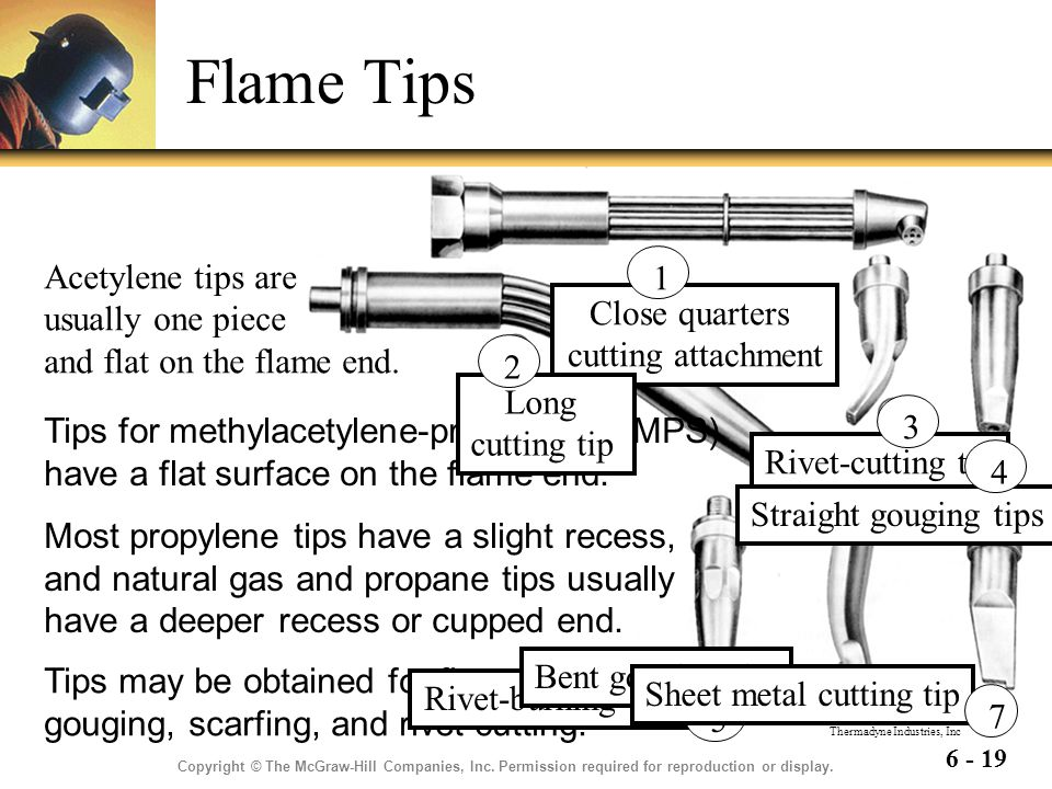 Flame Tips Acetylene tips are usually one piece and flat on the flame end. Close quarters cutting attachment.