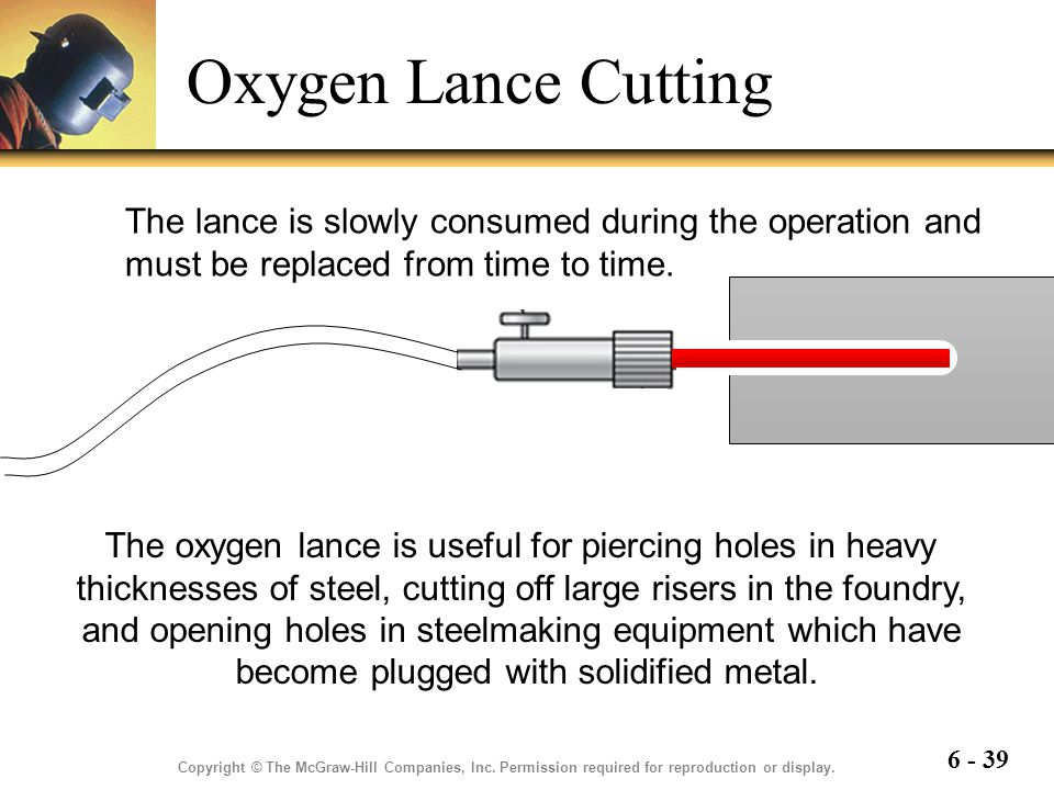 Oxygen Lance Cutting The lance is slowly consumed during the operation and must be replaced from time to time.