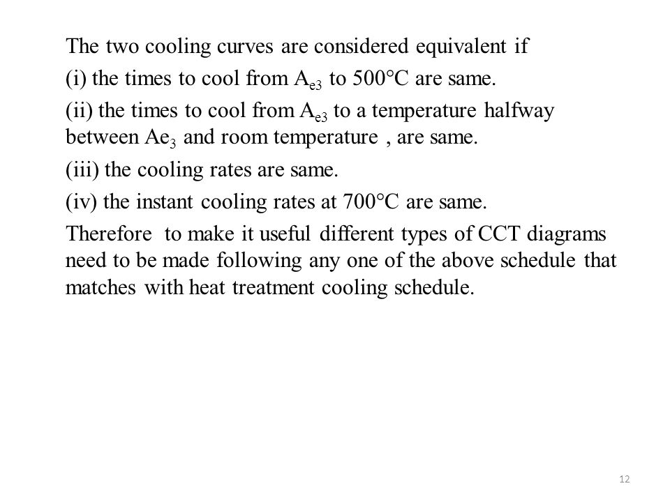The two cooling curves are considered equivalent if (i) the times to cool from Ae3 to 500°C are same.