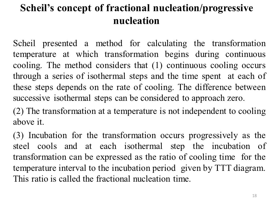 Scheil's concept of fractional nucleation/progressive nucleation