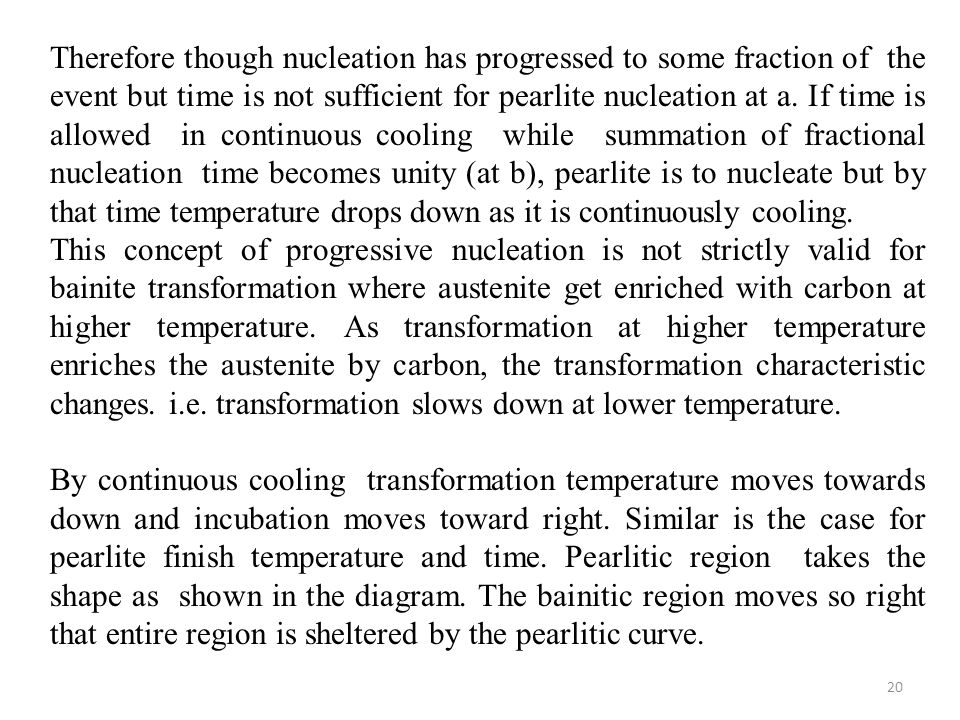 Therefore though nucleation has progressed to some fraction of the event but time is not sufficient for pearlite nucleation at a. If time is allowed in continuous cooling while summation of fractional nucleation time becomes unity (at b), pearlite is to nucleate but by that time temperature drops down as it is continuously cooling.