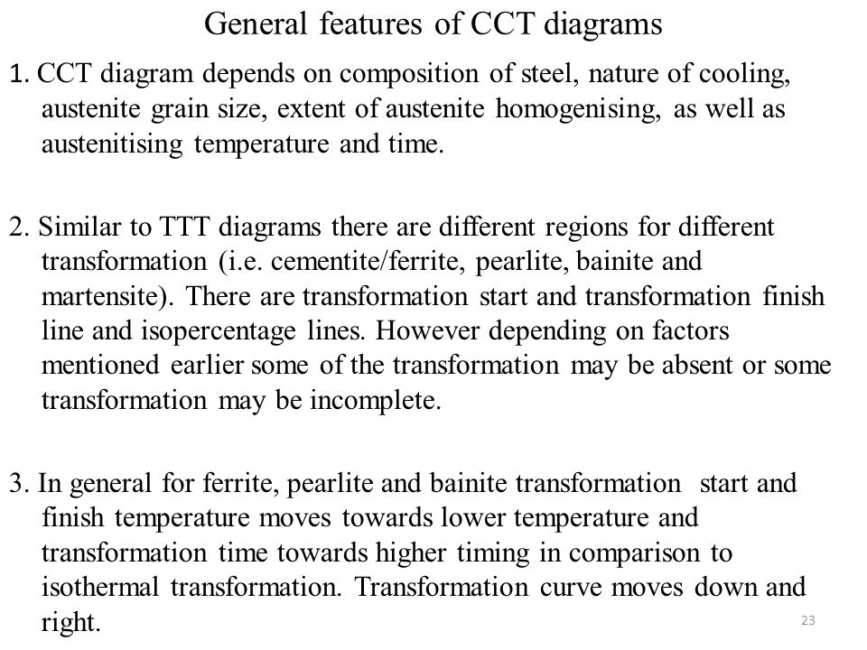General features of CCT diagrams