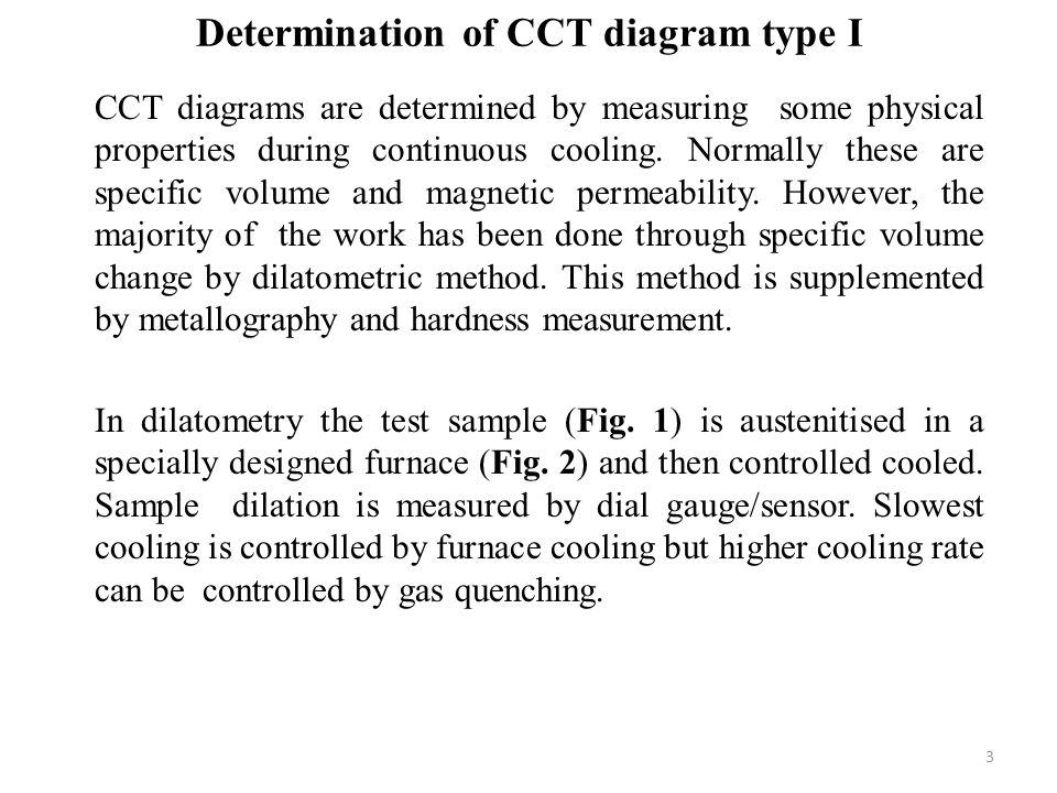 Determination of CCT diagram type I