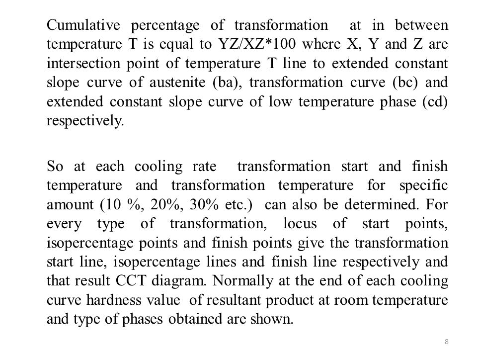 Cumulative percentage of transformation at in between temperature T is equal to YZ/XZ*100 where X, Y and Z are intersection point of temperature T line to extended constant slope curve of austenite (ba), transformation curve (bc) and extended constant slope curve of low temperature phase (cd) respectively.