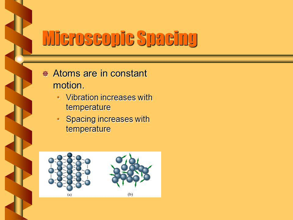 Microscopic Spacing Atoms are in constant motion.