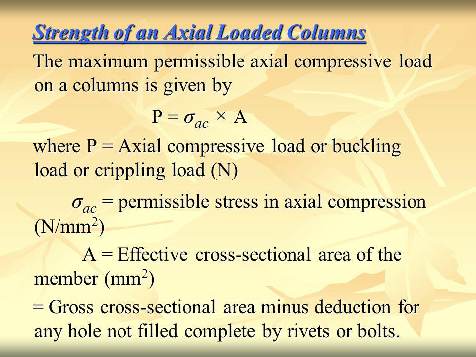 σac = permissible stress in axial compression (N/mm2)